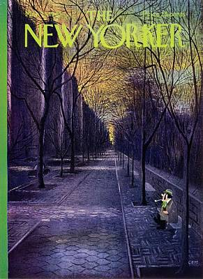 Winter Scene Painting - New Yorker March 13th 1965 by Charles Martin