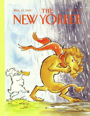 Lion And The Lamb Painting - New Yorker March 13th, 1989 by Lee Lorenz