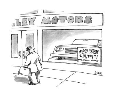 Window Signs Drawing - New Yorker March 13th, 1995 by Jack Ziegler