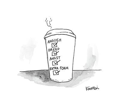 Cafes Drawing - New Yorker March 13th, 2017 by Ken Krimstein