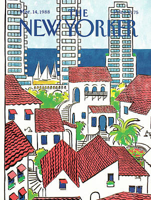 Spanish Villa Painting - New Yorker March 14th, 1988 by Arthur Getz