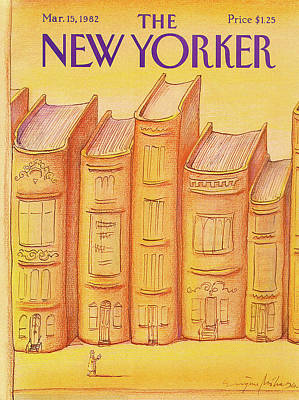 Library Painting - New Yorker March 15th, 1982 by Eugene Mihaesco