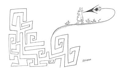 Maze Drawing - New Yorker March 16th, 1963 by Saul Steinberg