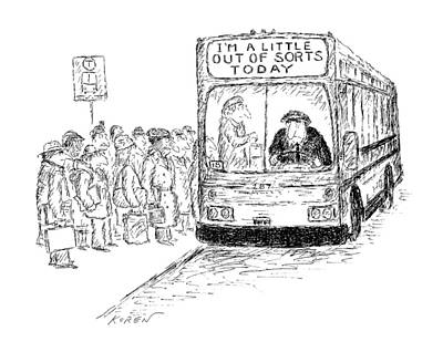 Driving Out Drawing - New Yorker March 16th, 1987 by Edward Koren