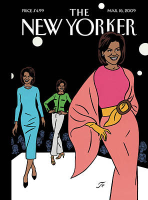 Michelle Obama Painting - New Yorker March 16th, 2009 by Jean Claude Floc'h