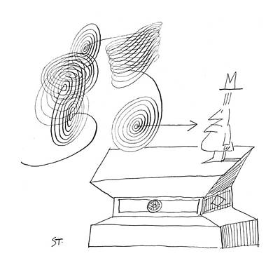 Abstract Shapes Drawing - New Yorker March 17th, 1962 by Saul Steinberg
