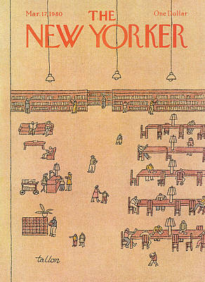 Library Painting - New Yorker March 17th, 1980 by Robert Tallon