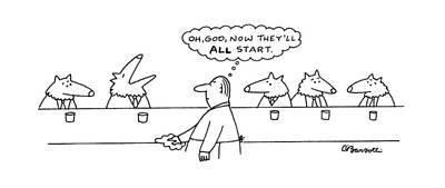 Wolf Drawing - New Yorker March 17th, 1997 by Charles Barsotti