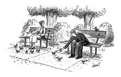 Park Benches Drawing - New Yorker March 17th, 1997 by Tom Cheney