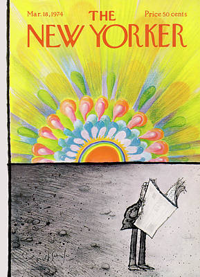 Winter Painting - New Yorker March 18th, 1974 by Ronald Searle