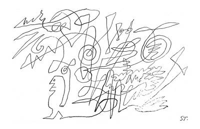 Emerges Drawing - New Yorker March 19th, 1960 by Saul Steinberg