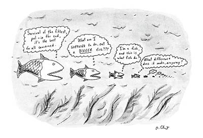 Food Chain Drawing - New Yorker March 19th, 1990 by Roz Chast