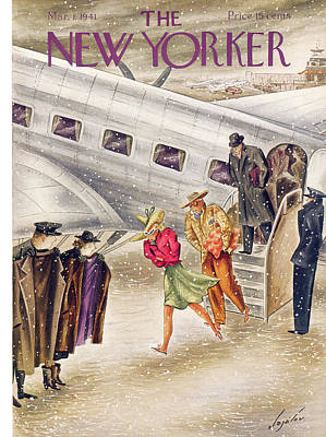 Winter Painting - New Yorker March 1st, 1941 by Constantin Alajalov