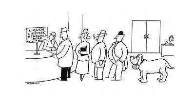 Puppy Drawing - New Yorker March 1st, 1941 by Otto Soglow