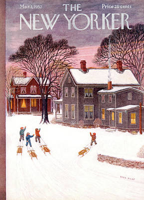 Sledding Painting - New Yorker March 1st, 1952 by Edna Eicke
