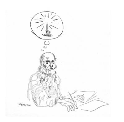 Thoughtful Drawing - New Yorker March 20th, 1971 by James Stevenson