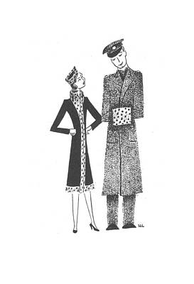 Cold Temperature Drawing - New Yorker March 21st, 1942 by Christina Malman