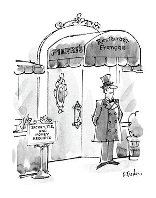 French Signs Drawing - New Yorker March 21st, 1988 by Dana Fradon
