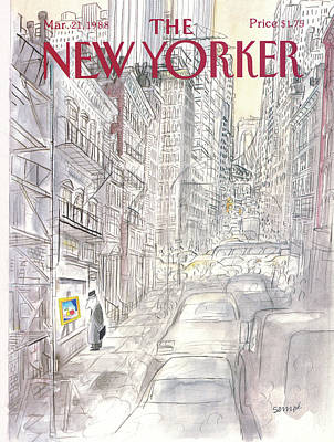 Street Car Painting - New Yorker March 21st, 1988 by Jean-Jacques Sempe