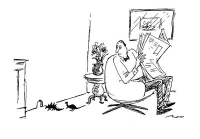 Man Reading Drawing - New Yorker March 21st, 1994 by Al Ross