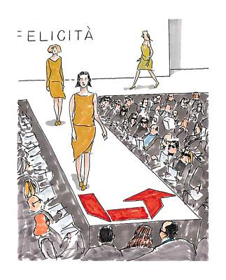 Fashion Show Drawing - New Yorker March 22nd, 1999 by Michael Crawford