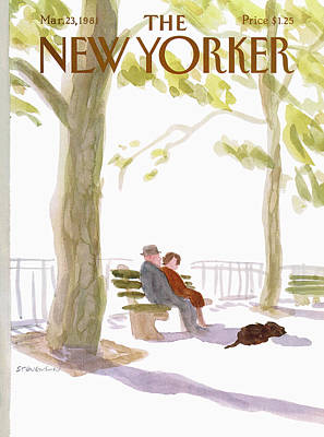 Park Benches Painting - New Yorker March 23rd, 1981 by James Stevenson