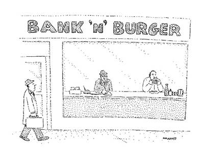 Hamburger Drawing - New Yorker March 23rd, 1981 by Robert Mankoff