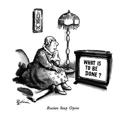 Russian Woman Drawing - New Yorker March 23rd, 1992 by Eldon Dedini