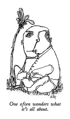Pensive Drawing - New Yorker March 23rd, 1992 by William Steig