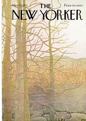 Winter Trees Painting - New Yorker March 25th, 1972 by Ilonka Karasz