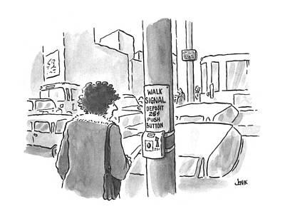 Crosswalk Drawing - New Yorker March 25th, 1996 by John Jonik