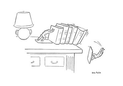 Miniature Drawing - New Yorker March 26th, 1949 by Dana Fradon