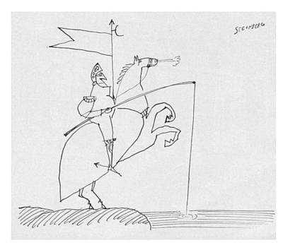 Horse Drawing - New Yorker March 26th, 1960 by Saul Steinberg