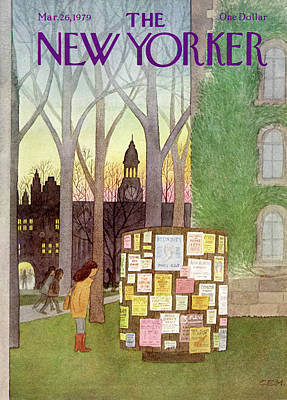 College Campus Painting - New Yorker March 26th, 1979 by Charles E. Martin