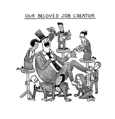 Tom-chitty Drawing - Our Beloved Job Creator by Tom Chitty