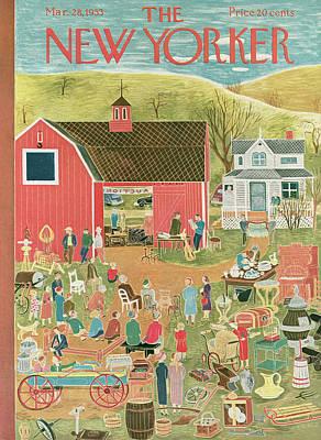 Farm Painting - New Yorker March 28th, 1953 by Ilonka Karasz