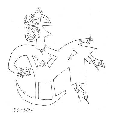 Abstract Shapes Drawing - New Yorker March 29th, 1958 by Saul Steinberg