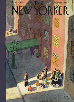Winter In The City Painting - New Yorker March 2nd, 1935 by Robert J. Day