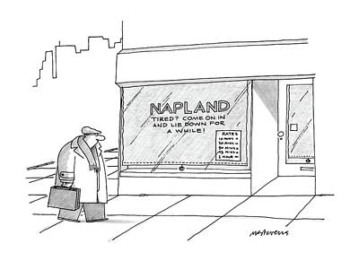 Storefront Drawing - New Yorker March 2nd, 1987 by Mick Stevens