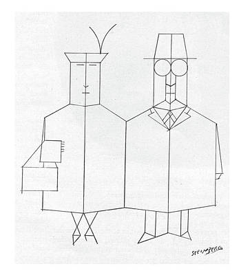 Lady Artist Drawing - New Yorker March 30th, 1957 by Saul Steinberg