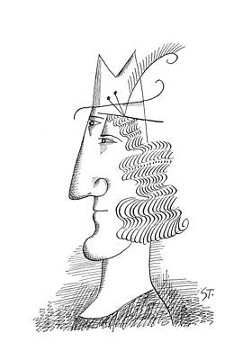 Faces Drawing - New Yorker March 30th, 1963 by Saul Steinberg