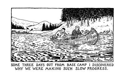 Canoes Drawing - New Yorker March 30th, 1992 by Glen Baxter