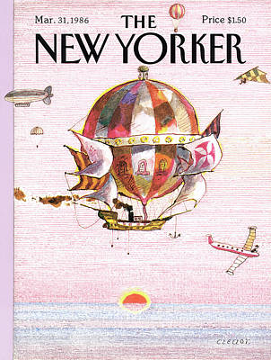 Pirate Ship Painting - New Yorker March 31st, 1986 by Andrej Czeczot
