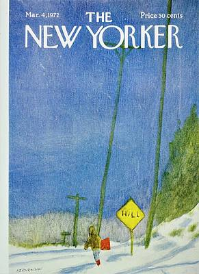 Winter Landscape Painting - New Yorker March 4th 1972 by James Stevenson