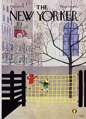 Winter Scene Painting - New Yorker March 4th 1974 by Charles Martin