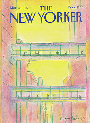 City Sunset Painting - New Yorker March 4th, 1985 by Eugene Mihaesco