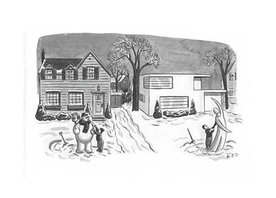 Old Door Drawing - New Yorker March 6th, 1943 by Robert J. Day