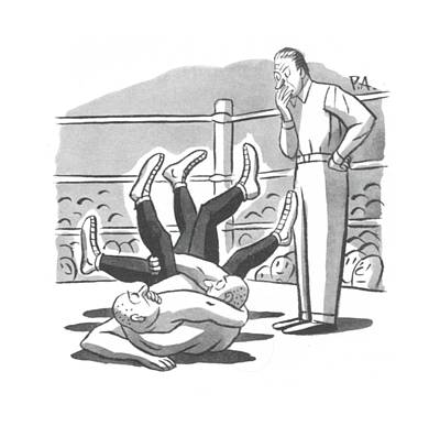 Wrestling Drawing - New Yorker March 7th, 1942 by Peter Arno