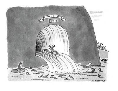 Tunnel Drawing - New Yorker March 8th, 1993 by Mick Stevens