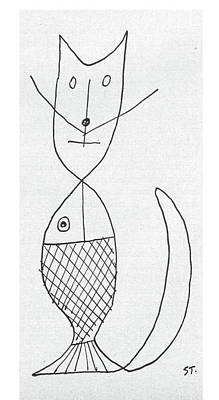 Abstract Forms Drawing - New Yorker March 9th, 1957 by Saul Steinberg